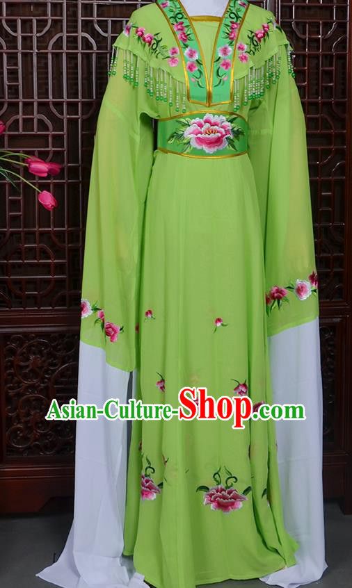 Handmade Chinese Beijing Opera Actress Embroidered Green Dress Peking Opera Princess Costume for Women