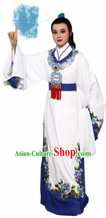 Handmade Chinese Beijing Opera Niche White Costume Traditional Peking Opera Nobility Childe Clothing for Men