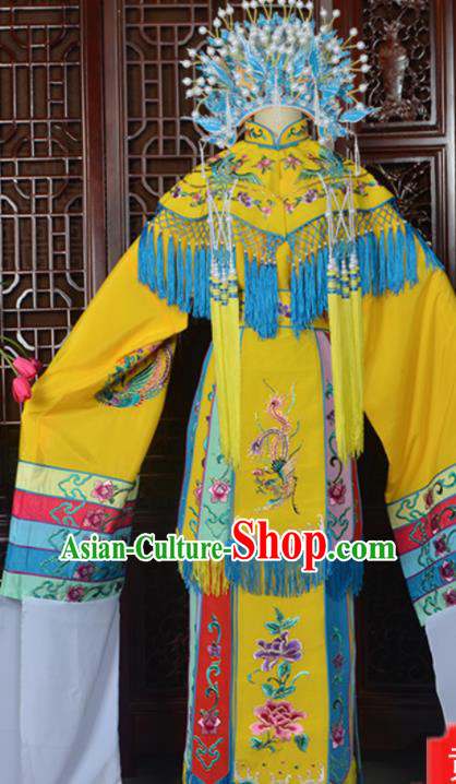 Handmade Chinese Beijing Opera Imperial Consort Yellow Embroidered Dress Traditional Peking Opera Diva Costume for Women