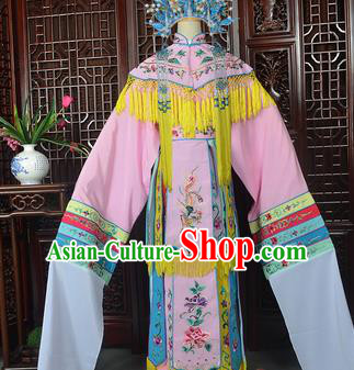 Handmade Chinese Beijing Opera Imperial Consort Pink Embroidered Dress Traditional Peking Opera Diva Costume for Women