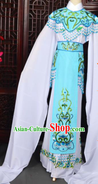 Handmade Chinese Beijing Opera Princess Blue Embroidered Dress Traditional Peking Opera Diva Costume for Women