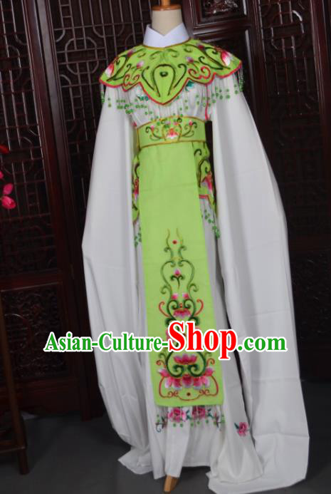 Handmade Chinese Beijing Opera Princess Green Embroidered Dress Traditional Peking Opera Diva Costume for Women