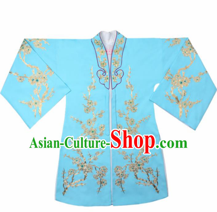 Handmade Chinese Beijing Opera Embroidered Plum Blossom Blue Cape Traditional Peking Opera Diva Costume for Women