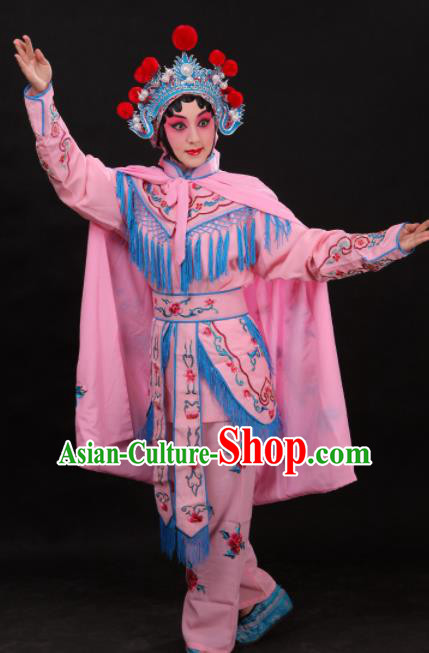 Handmade Chinese Beijing Opera Embroidered Peony Pink Cloak Traditional Peking Opera Diva Costume for Women
