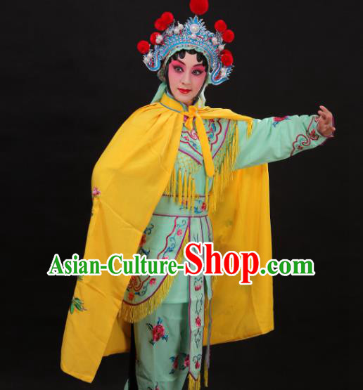 Handmade Chinese Beijing Opera Embroidered Peony Yellow Cloak Traditional Peking Opera Diva Costume for Women