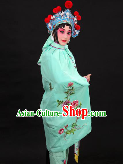 Handmade Chinese Beijing Opera Embroidered Peony Green Cloak Traditional Peking Opera Diva Costume for Women