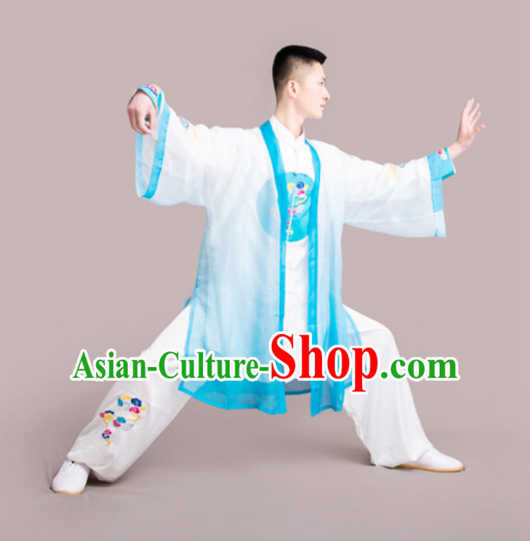 Top Chinese Mandarin Peony Competition Championship Professional Tai Chi Stage Performance Uniforms Clothing and Mantle Complete Set for Men