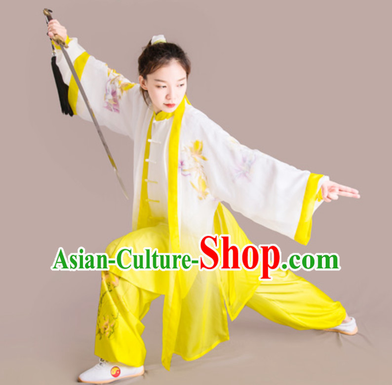 Top Chinese Classical Competition Championship Professional Tai Chi Stage Performance Uniforms Clothing and Mantle Complete Set for Women or Men