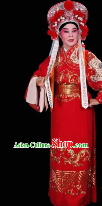 Handmade Chinese Beijing Opera General Red Costume Traditional Peking Opera Embroidered Robe for Men