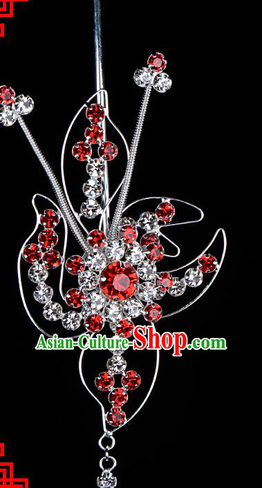 Chinese Handmade Beijing Opera Hair Accessories Traditional Ancient Princess Red Crystal Hairpins for Women