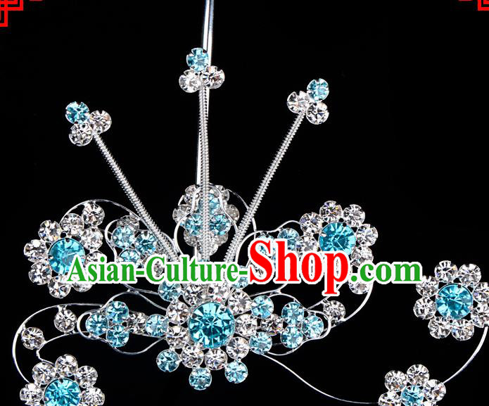 Chinese Handmade Beijing Opera Hair Accessories Traditional Ancient Princess Blue Crystal Hairpins for Women