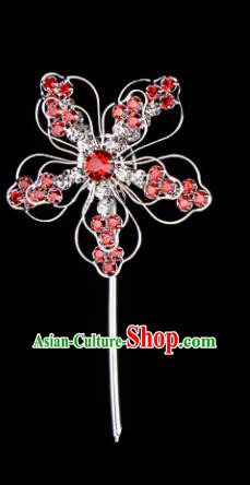 Chinese Handmade Beijing Opera Hair Accessories Traditional Ancient Princess Red Crystal Plum Blossom Hairpins for Women