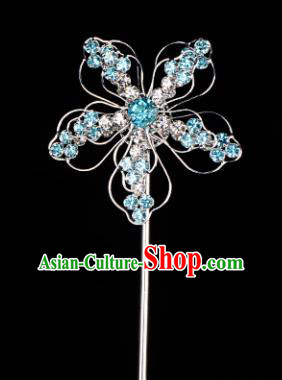 Chinese Handmade Beijing Opera Hair Accessories Traditional Ancient Princess Blue Crystal Plum Blossom Hairpins for Women
