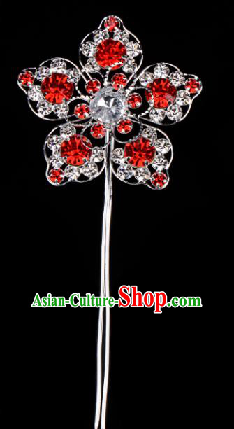 Chinese Handmade Beijing Opera Hair Accessories Traditional Ancient Princess Red Crystal Flower Hairpins for Women