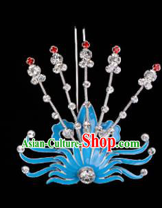 Chinese Handmade Beijing Opera Hair Accessories Traditional Ancient Princess White Crystal Phoenix Hairpins for Women