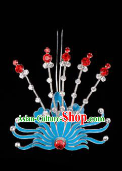 Chinese Handmade Beijing Opera Hair Accessories Traditional Ancient Princess Red Crystal Phoenix Hairpins for Women