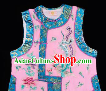 Handmade Chinese Beijing Opera Embroidered Pink Vest Traditional Peking Opera Diva Costume for Women
