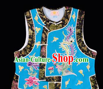 Handmade Chinese Beijing Opera Embroidered Blue Vest Traditional Peking Opera Diva Costume for Women