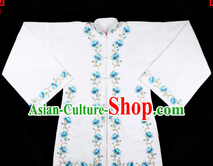 Handmade Chinese Beijing Opera Embroidered White Blouse Traditional Peking Opera Diva Costume for Women
