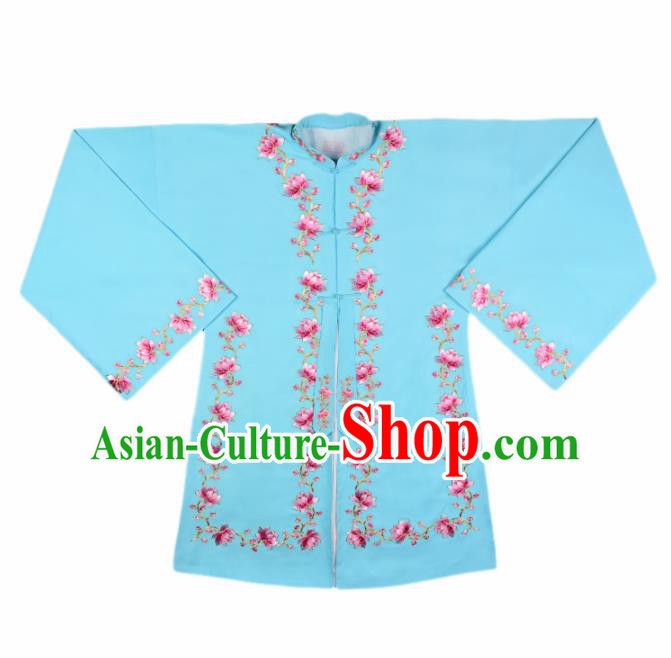 Handmade Chinese Beijing Opera Embroidered Blue Blouse Traditional Peking Opera Diva Costume for Women