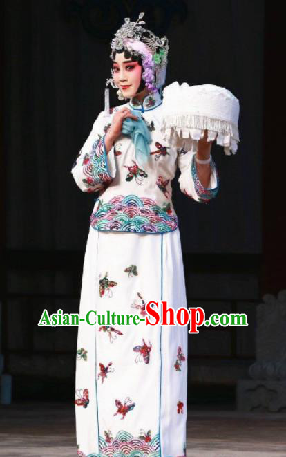 Handmade Chinese Beijing Opera Embroidered Butterfly White Dress Traditional Peking Opera Diva Costume for Women
