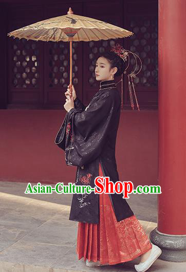 Ancient Chinese Ming Dynasty Nobility Lady Hanfu Dress Traditional Court Bride Embroidered Historical Costume for Women
