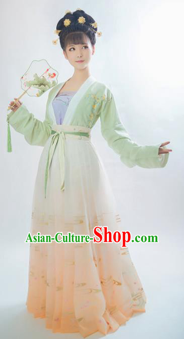 Traditional Chinese Song Dynasty Aristocratic Lady Embroidered Hanfu Dress Ancient Drama Historical Costume for Women