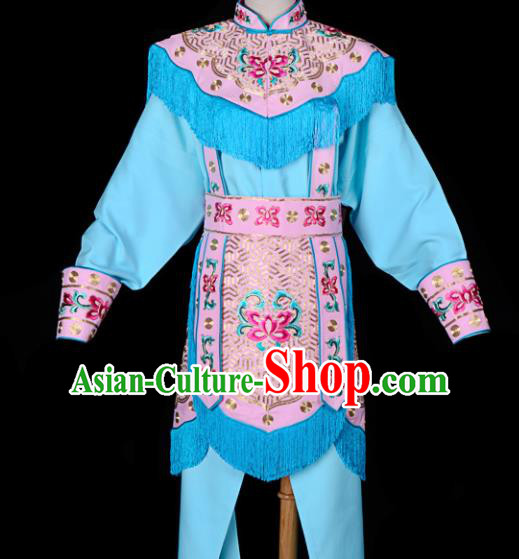 Handmade Chinese Beijing Opera Blues Embroidered Blue Clothing Traditional Peking Opera Diva Costume for Women