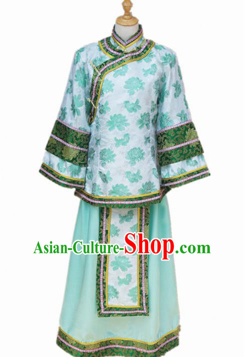 Traditional Chinese Republican Period Young Mistress Green Dress Ancient Landlord Shiva Costume for Women