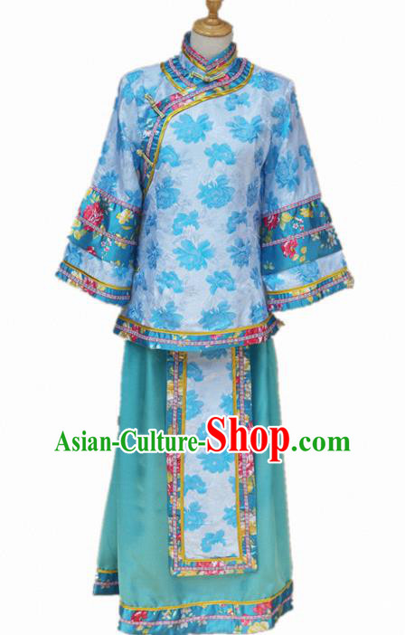 Traditional Chinese Republican Period Young Mistress Blue Dress Ancient Landlord Shiva Costume for Women