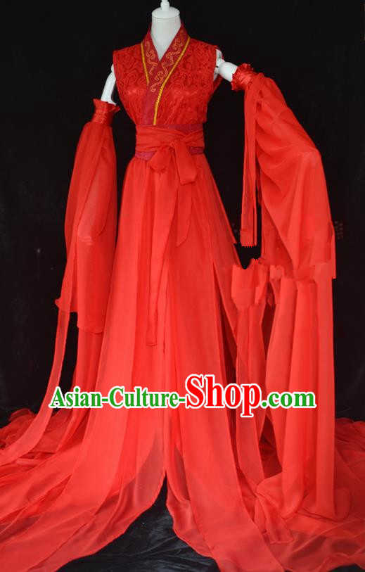 Traditional Chinese Cosplay Swordswoman Red Hanfu Dress Ancient Peri Princess Costume for Women