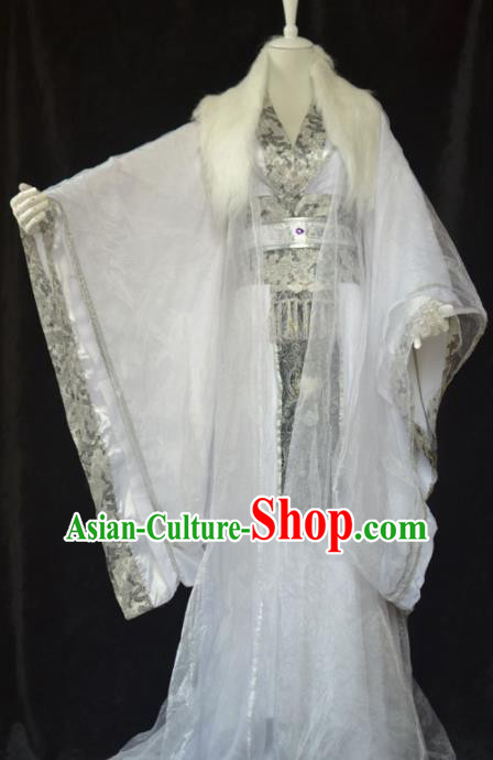 Traditional Chinese Cosplay Emperor White Clothing Ancient Swordsman Costume for Men