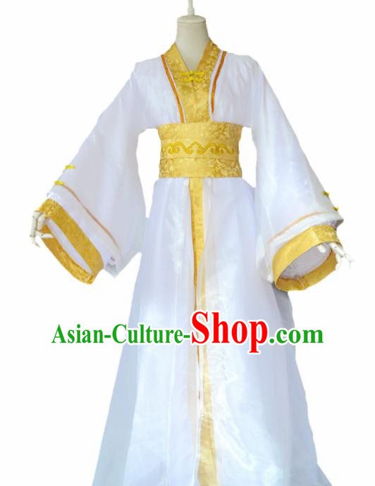 Traditional Chinese Cosplay Nobility Childe White Clothing Ancient Swordsman Costume for Men