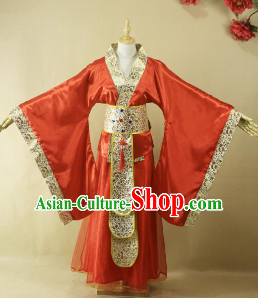 Traditional Chinese Han Dynasty Queen Red Hanfu Dress Ancient Court Lady Wedding Costume for Women