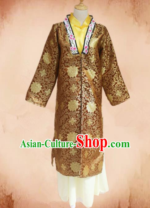 Traditional Chinese Ming Dynasty Young Mistress Brown Hanfu Dress Ancient Maidservants Costume for Women