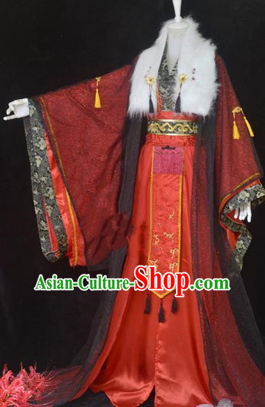 Traditional Chinese Cosplay Royal Highness Red Clothing Ancient Swordsman Wedding Costume for Men