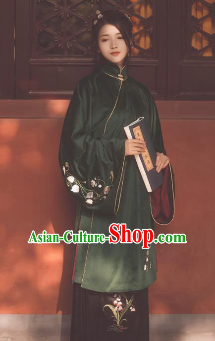 Ancient Chinese Ming Dynasty Young Mistress Hanfu Dress Traditional Dowager Embroidered Historical Costume for Women
