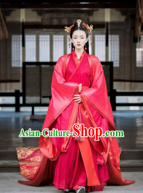 Chinese Traditional Shang Dynasty Imperial Consort Su Daji Red Hanfu Dress Ancient Drama Hoshin Engi Embroidered Wedding Historical Costume for Women