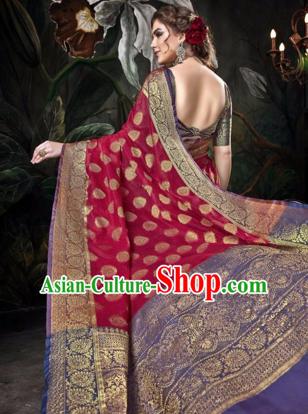 Asian India Traditional Bollywood Wine Red Sari Dress Indian Court Queen Costume for Women