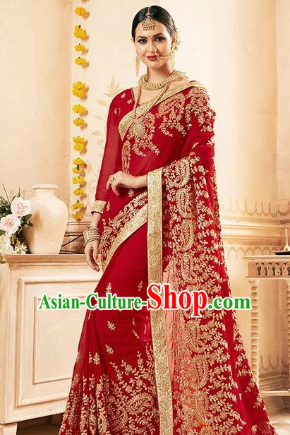 Asian India Traditional Bollywood Bride Wine Red Sari Dress Indian Court Wedding Costume for Women