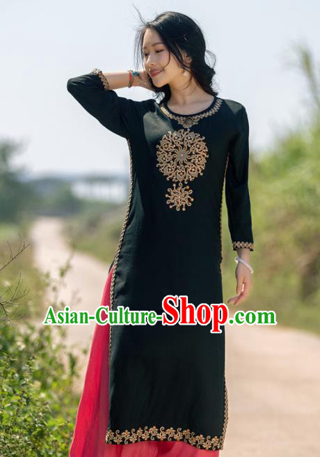 South Asian India Traditional Punjabi Costumes Asia Indian National Black Blouse and Pants for Women