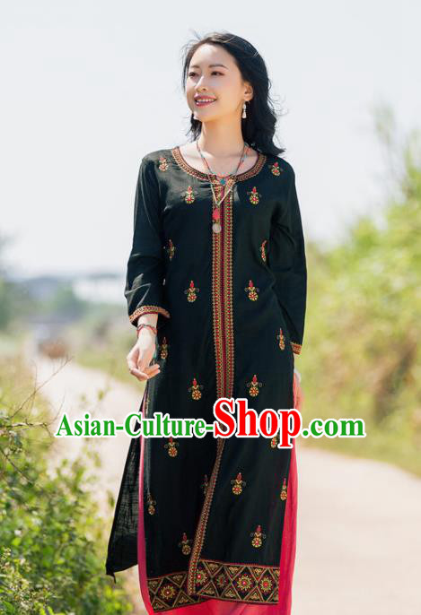 South Asian India Traditional Punjabi Costumes Asia Indian National Black Linen Blouse and Pants for Women
