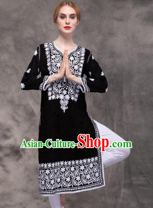South Asian India Traditional Yoga Costumes Asia Indian National Punjabi Black Blouse and Pants for Women