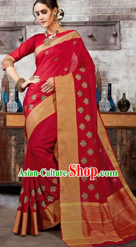 South Asian India Traditional Bollywood Wine Red Sari Dress Indian Court Wedding Bride Costume for Women