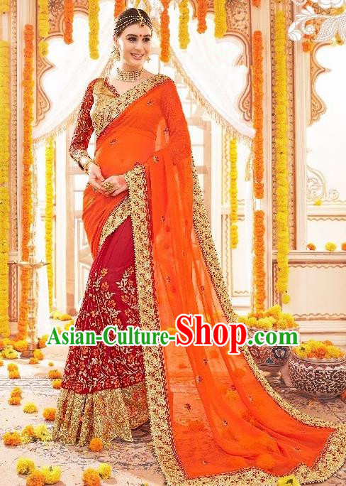 Asian India Traditional Wedding Bride Wine Red Sari Dress Indian Bollywood Court Costume for Women