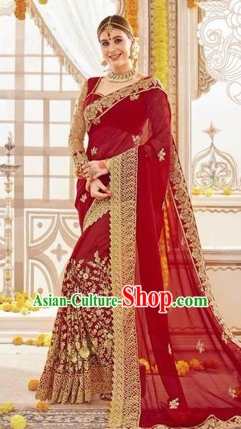 Asian India Traditional Wedding Bride Sari Dress Indian Bollywood Court Wine Red Costume for Women