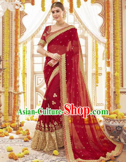 Asian India Traditional Wedding Sari Dress Indian Bollywood Court Bride Wine Red Costume for Women