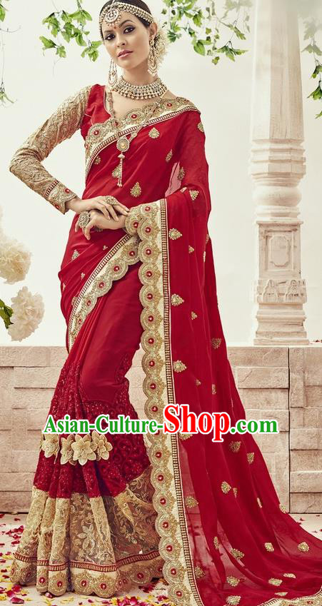 Asian India Traditional Wedding Wine Red Sari Dress Indian Bollywood Court Bride Costume for Women