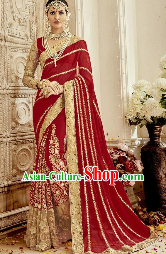 Asian India Traditional Wedding Embroidered Wine Red Sari Dress Indian Bollywood Court Bride Costume for Women