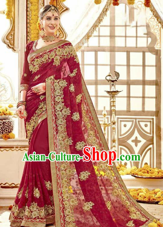 Asian India Traditional Court Wedding Wine Red Sari Dress Indian Bollywood Bride Costume for Women